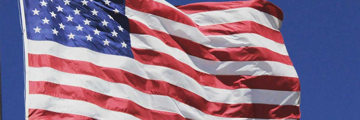 US flag to denote post on America
