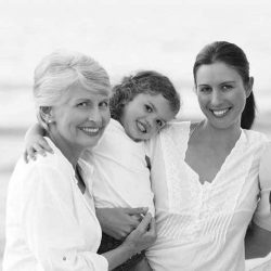two-generations-beach-bw